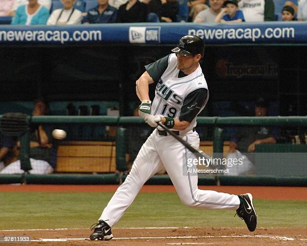Tampa Bay Devil Rays outfielder Aubrey Huff bats against the Oakland Athletics April 10 2005 at Tropicana Field Gathright was called out