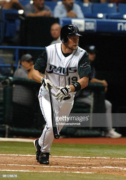 Tampa Bay Devil Rays outfielder Aubrey Huff bats against the Toronto Blue Jay April 5 2005 at Tropicana Field