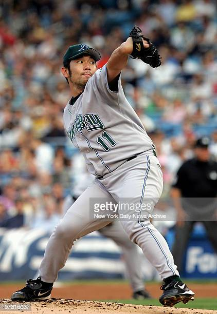 Tampa Bay Devil Rays' pitcher Hideo Nomo delivers home in the first inning of a game against the New York Yankees at Yankee Stadium The Yanks...