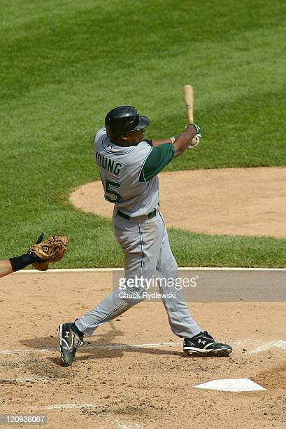 Tampa Bay Devil Rays' Rookie Right Fielder Delmon Young doubles during their game against the Chicago White Sox August 31 2006 at US Cellular Field...