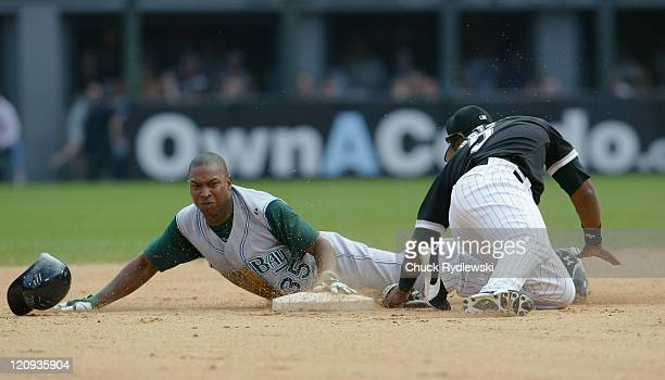 Tampa Bay Devil Rays' Rookie Right Fielder Delmon Young slides safely into 2nd base in the 10th inning of their game against the Chicago White Sox...
