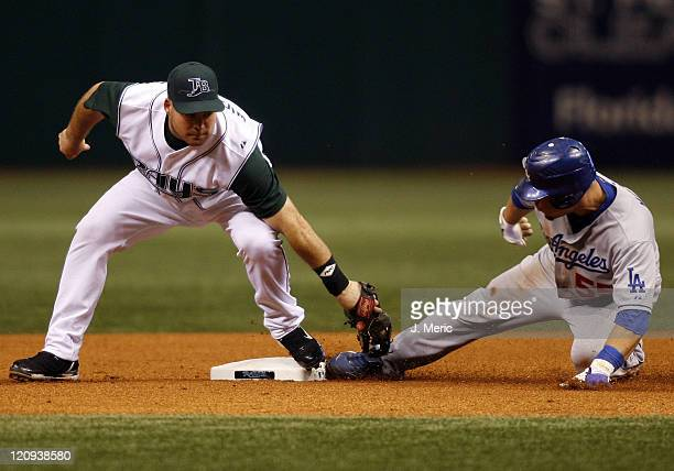 Tampa Bay Devil Rays second baseman Ty Wigginton is late with the tag to Los Angeles Dodgers Russell Martin on Friday night at Tropicana Field in St....