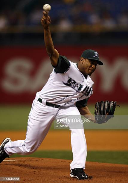 Tampa Bay Devil Rays starting pitcher Edwin Jackson makes a pitch in the first inning in Wednesday night's game against the San Diego Padres at...