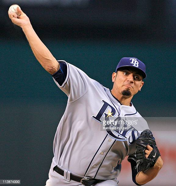 Tampa Bay Devil Rays starting pitcher Matt Garza throws in the second inning against the Kansas City Royals on Thursday July 24 at Kauffman Stadium...