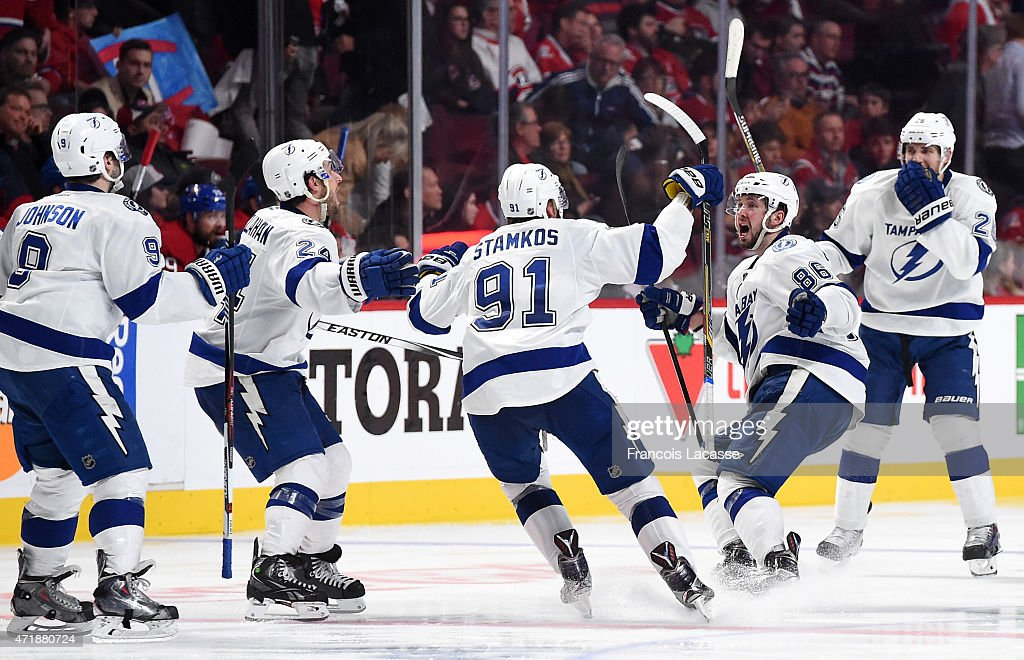 Tampa Bay Lightning celebrate after defeating the Montreal Canadiens in Game Five of the Eastern Conference Semifinals during the 2015 NHL Stanley Cup Playoffs at the Bell Centre on May 1, 2015 in Montreal, Quebec, Canada.
