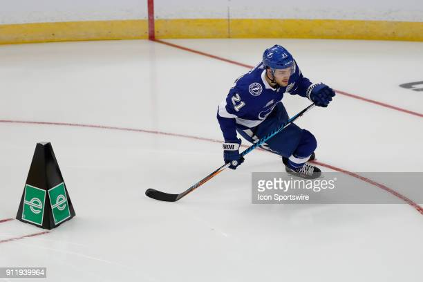 Tampa Bay Lightning center Brayden Point skates during the Enterprise NHL Fastest Skater competition during the NHL AllStar Skills Competition on...