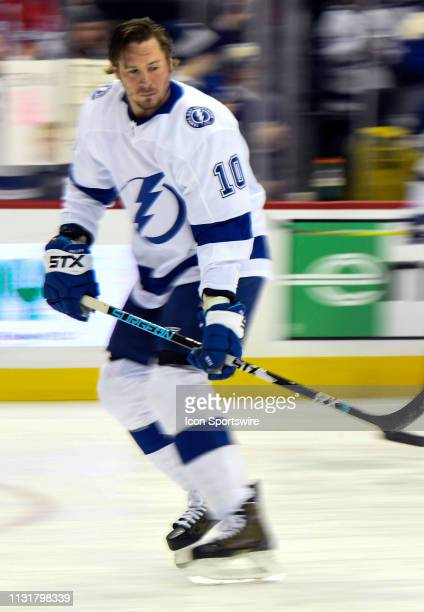 Tampa Bay Lightning center JT Miller warms up prior to the game against the Washington Capitals on March 20 at the Capital One Arena in Washington DC