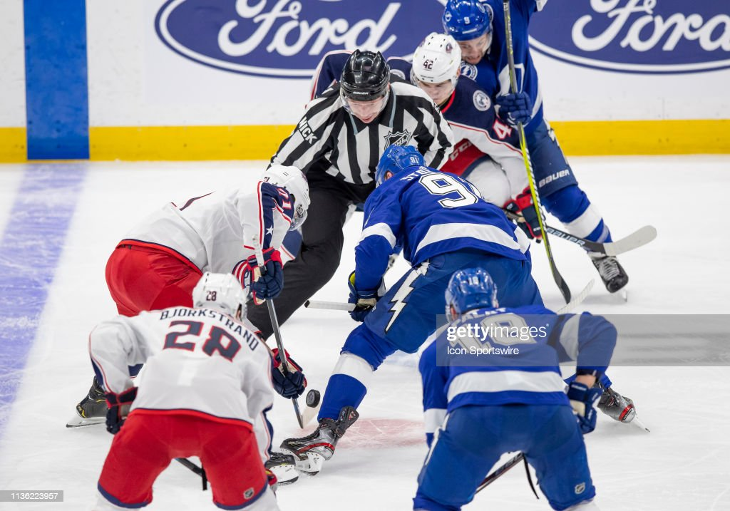 NHL: APR 10 Stanley Cup Playoffs First Round - Blue Jackets at Lightning : News Photo