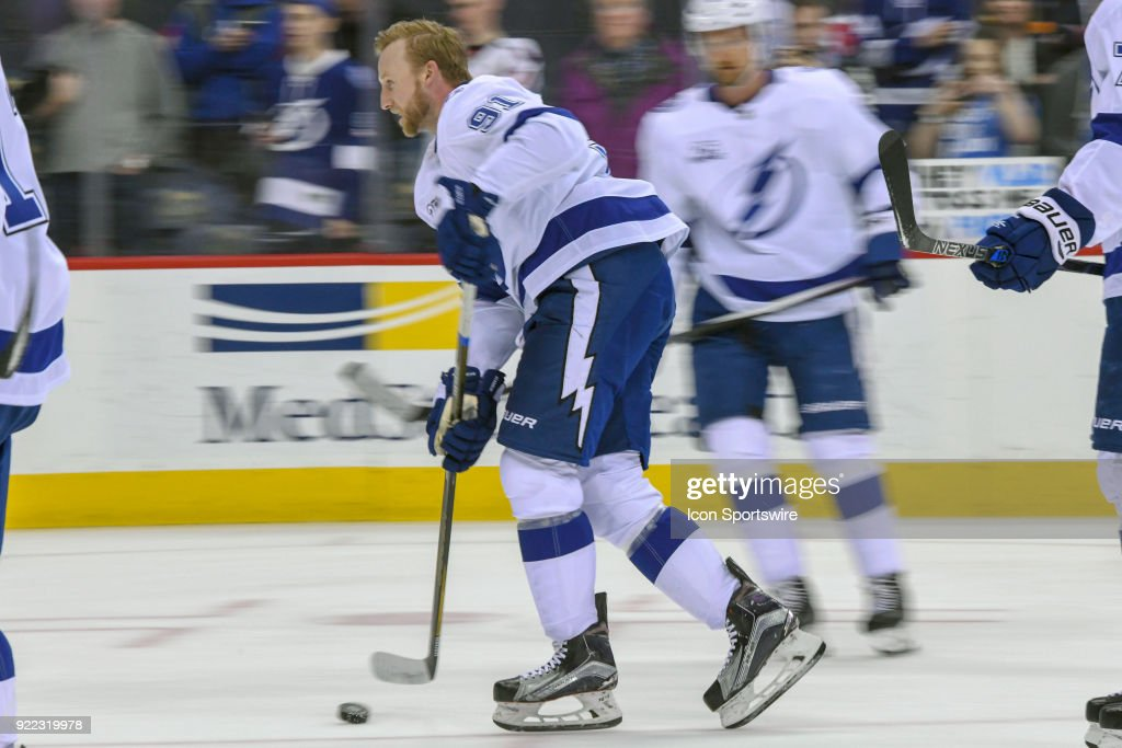 Tampa Bay Lightning center Steven Stamkos (91) warms up on February 20, 2018, at the Capital One Arena in Washington, D.C. The Tampa Bay Lightning defeated the Washington Capitals, 4-2.
