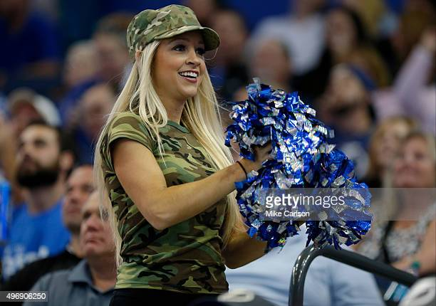Tampa Bay Lightning cheerleader takes part in Military Appreciation Night against the Calgary Flames at the Amalie Arena on November 12 2015 in Tampa...