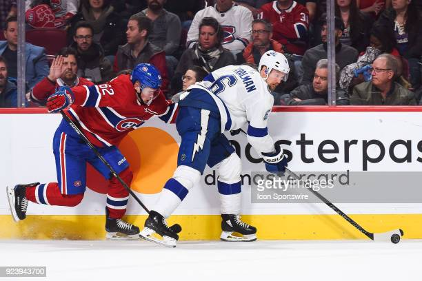 Tampa Bay Lightning Defenceman Anton Stralman gains control of the puck on the side of the board during the Tampa Bay Lightning versus the Montreal...