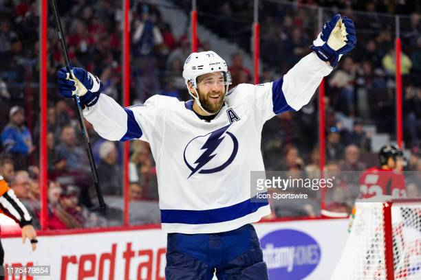 Tampa Bay Lightning Defenceman Victor Hedman celebrates a goal during third period National Hockey League action between the Tampa Bay Lightning and...