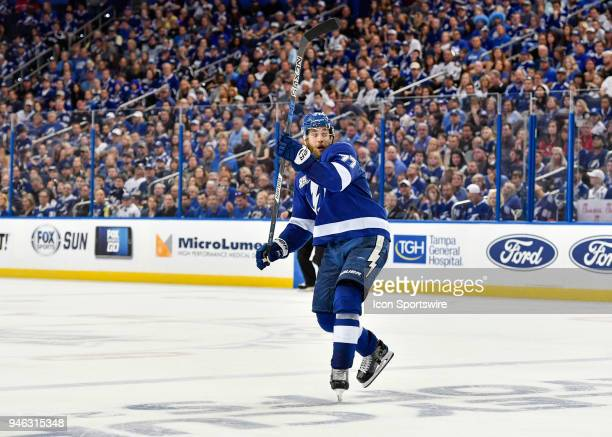 Tampa Bay Lightning defender Victor Hedman catches his balance as he turns during the third period of an NHL Stanley Cup Eastern Conference Playoffs...