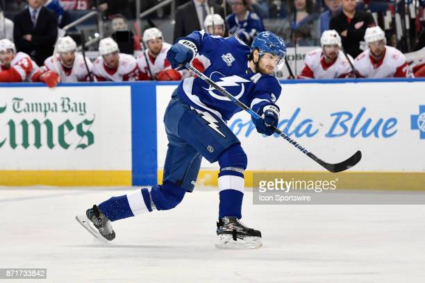 Tampa Bay Lightning defender Victor Hedman releases a shot form the top of the circle during the first period of an NHL game between the Detroit Red...
