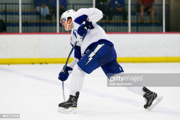 Tampa Bay Lightning defenseman Callan Foote takes a shot during the 2017 Tampa Bay Lightning Development Camp workout on June 29 at The Ice Sports...