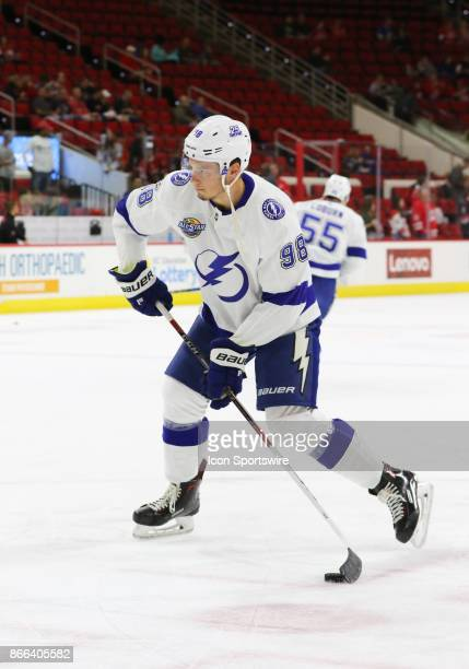 Tampa Bay Lightning Defenseman Mikhail Sergachev during warmups of the Carolina Hurricanes game versus the Tampa Bay Lightning on October 24 at PNC...