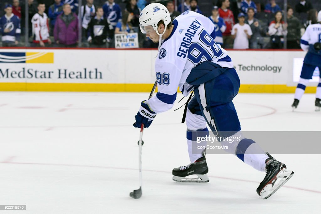 Tampa Bay Lightning defenseman Mikhail Sergachev (98) warms up on February 20, 2018, at the Capital One Arena in Washington, D.C. The Tampa Bay Lightning defeated the Washington Capitals, 4-2.