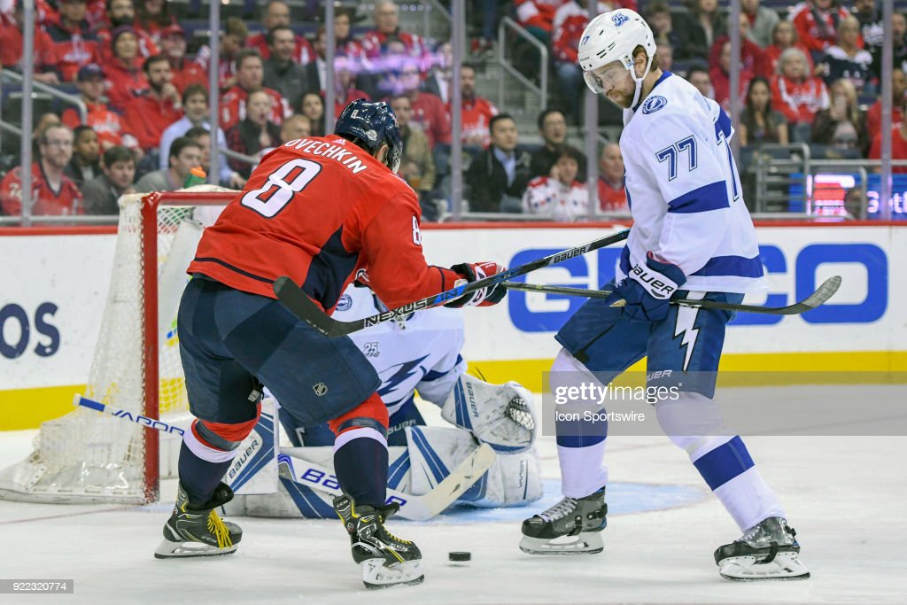 Tampa Bay Lightning defenseman Victor Hedman (77) blocks a shot by Washington Capitals left wing Alex Ovechkin (8) in the first period on February 20, 2018, at the Capital One Arena in Washington, D.C. The Tampa Bay Lightning defeated the Washington Capitals, 4-2.