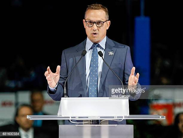 Tampa Bay Lightning general manager Steve Yzerman speaks during a ceremony to retire the number of former Tampa Bay Lightning Martin St Louis at the...