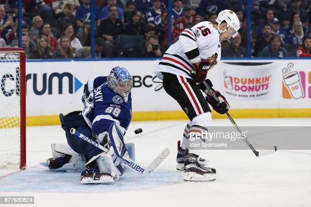 Tampa Bay Lightning goalie Andrei Vasilevskiy makes a save on the redirected shot from Chicago Blackhawks center Artem Anisimov in the 3nd period of...