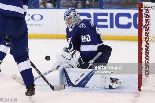 Tampa Bay Lightning goalie Andrei Vasilevskiy uses his body to block a shot in the 3rd period of the NHL game between the Dallas Stars and Tampa Bay...