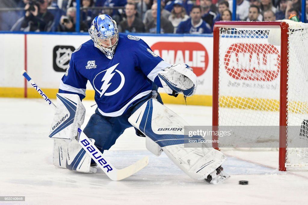 Tampa Bay Lightning Goalie Andrei Vasilevsky Makes A Kick Save