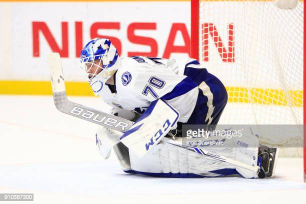 Tampa Bay Lightning goalie Louis Domingue is shown during the NHL game between the Nashville Predators and the Tampa Bay Lightning held on January 23...
