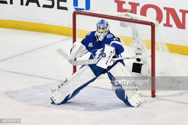 Tampa Bay Lightning goalie Louis Domingue makes a blocker save during the third period of the first game of the NHL Stanley Cup Eastern Conference...