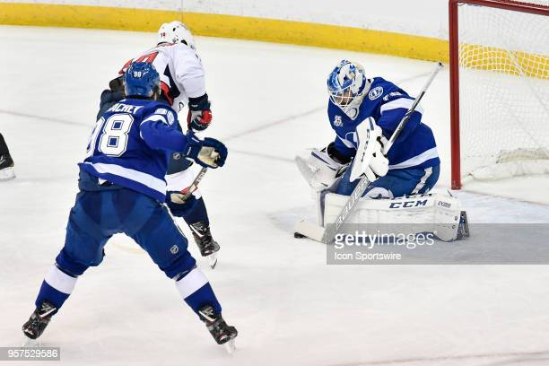 Tampa Bay Lightning goalie Louis Domingue makes a save during the third period of the first game of the NHL Stanley Cup Eastern Conference Finals...