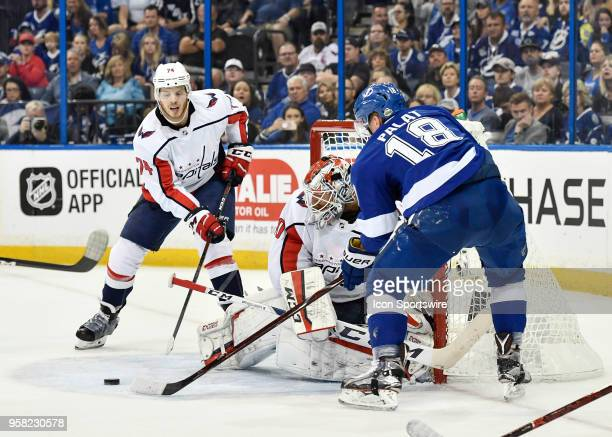 Tampa Bay Lightning goalie Louis Domingue makes a save on Tampa Bay Lightning left wing Ondrej Palat during the second period of the second game of...