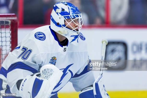 Tampa Bay Lightning Goalie Louis Domingue prepares to make a save during warmup before National Hockey League action between the Tampa Bay Lightning...