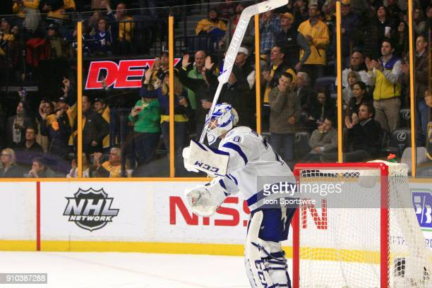 Tampa Bay Lightning goalie Louis Domingue reacts after the goal by Nashville Predators defenseman PK Subban was upheld during the NHL game between...