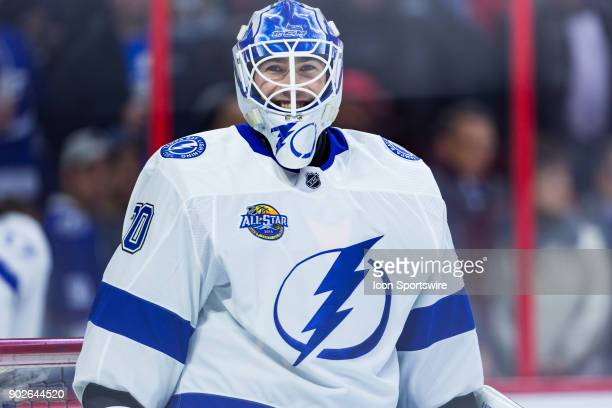 Tampa Bay Lightning Goalie Louis Domingue smiles during warmup before National Hockey League action between the Tampa Bay Lightning and Ottawa...