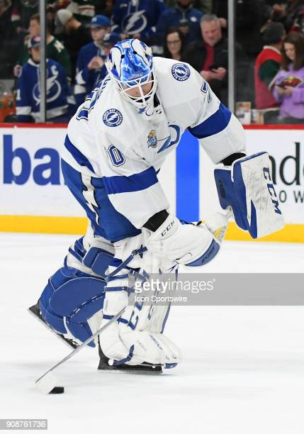 Tampa Bay Lightning Goalie Louis Domingue warms up before a NHL game between the Minnesota Wild and Tampa Bay Lightning on January 20 2018 at Xcel...