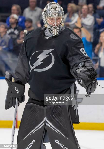 Tampa Bay Lightning goaltender Andrei Vasilevskiy Celebrates his 30 shutout with a puck flip during the NHL Hockey match between the Lightning and...