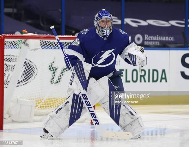 Tampa Bay Lightning goaltender Andrei Vasilevskiy during the NHL game between the Carolina Hurricanes and Tampa Bay Lightning on February 24, 2021 at...