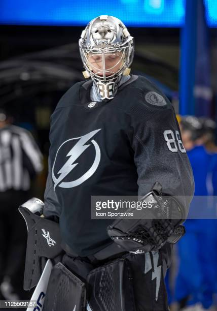 Tampa Bay Lightning goaltender Andrei Vasilevskiy during the NHL Hockey match between the Lightning and Canadiens on February 16 2019 at Amalie Arena...