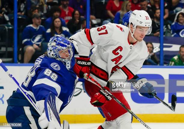 Tampa Bay Lightning goaltender Andrei Vasilevskiy gets blocked by Carolina Hurricanes right wing Andrei Svechnikov during the NHL Hockey 2nd round...