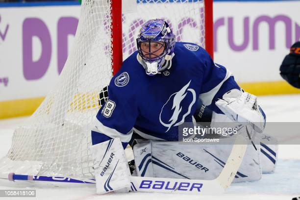 Tampa Bay Lightning goaltender Andrei Vasilevskiy gets ready in net in the first period of the regular season NHL game between the Edmonton Oilers...