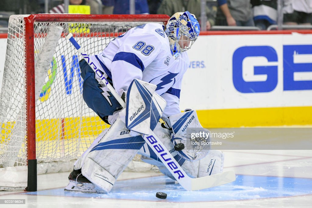 Tampa Bay Lightning goaltender Andrei Vasilevskiy (88) in action on February 20, 2018, at the Capital One Arena in Washington, D.C. The Tampa Bay Lightning defeated the Washington Capitals, 4-2.