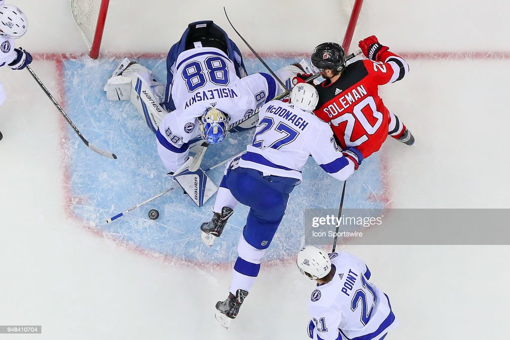 NHL: APR 18 Stanley Cup Playoffs First Round Game 4 - Lightning at Devils : News Photo