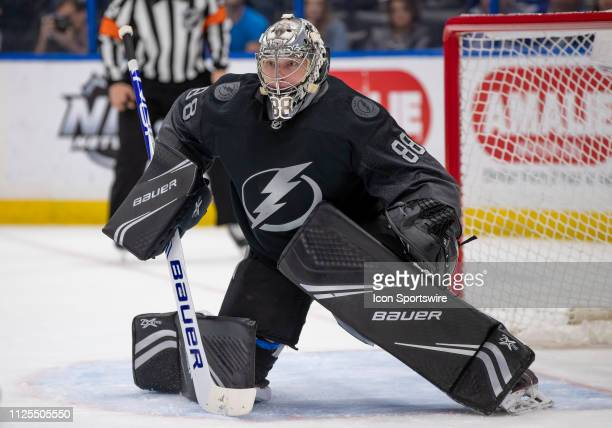 Tampa Bay Lightning goaltender Andrei Vasilevskiy looks to make a save during the NHL Hockey match between the Lightning and Canadiens on February 16...