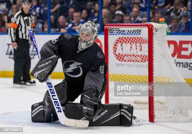 Tampa Bay Lightning goaltender Andrei Vasilevskiy makes a glove save during an NHL game between the Tampa Bay Lightning and Pittsburgh Penguins on...