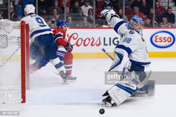 Tampa Bay Lightning goaltender Andrei Vasilevskiy makes a pad save during the third period of the NHL game between the Tampa Bay Lightning and the...