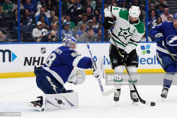 Tampa Bay Lightning goaltender Andrei Vasilevskiy makes a save a shot from Dallas Stars left wing Jamie Benn during the NHL game between the Dallas...