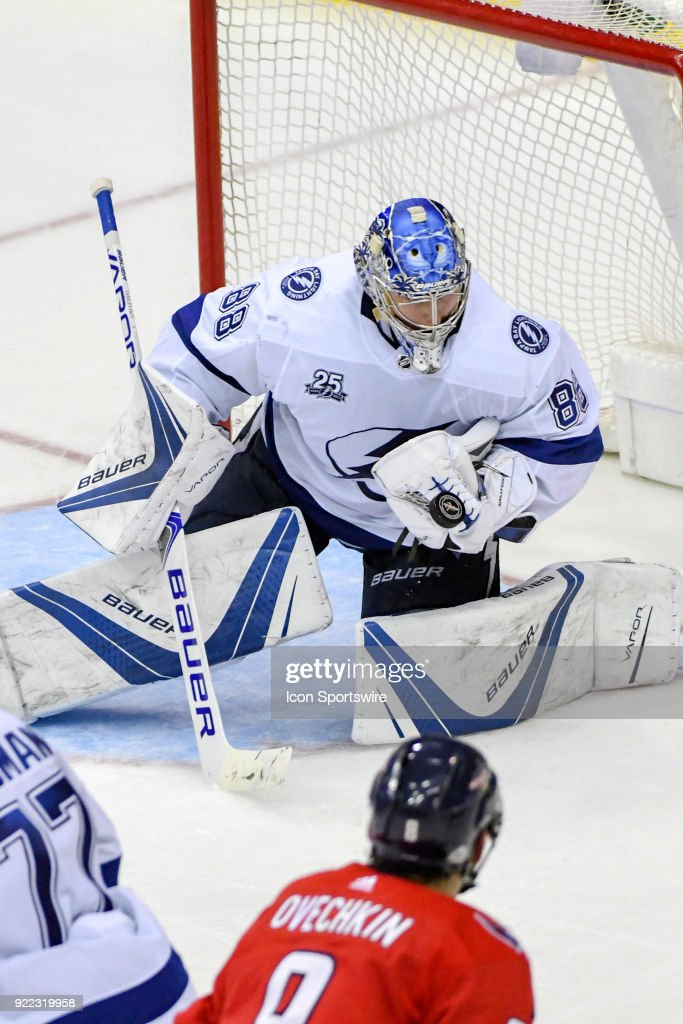Tampa Bay Lightning goaltender Andrei Vasilevskiy (88) makes a third period save on shot by Washington Capitals left wing Alex Ovechkin (8) on February 20, 2018, at the Capital One Arena in Washington, D.C. The Tampa Bay Lightning defeated the Washington Capitals, 4-2.