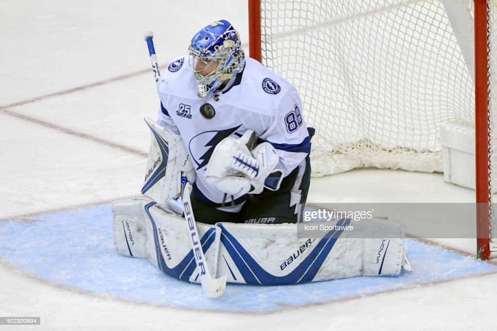 Tampa Bay Lightning goaltender Andrei Vasilevskiy (88) makes a third period against the Washington Capitals on February 20, 2018, at the Capital One Arena in Washington, D.C. The Tampa Bay Lightning defeated the Washington Capitals, 4-2.