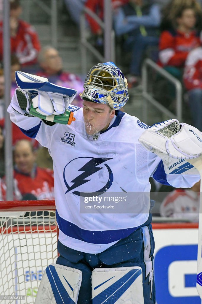 Tampa Bay Lightning goaltender Andrei Vasilevskiy (88) pours water on his face on February 20, 2018, at the Capital One Arena in Washington, D.C. The Tampa Bay Lightning defeated the Washington Capitals, 4-2.