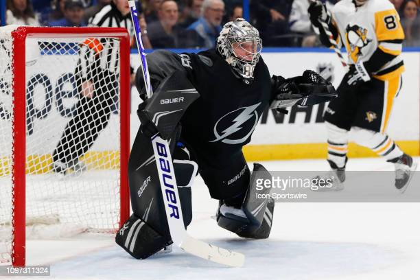 Tampa Bay Lightning goaltender Andrei Vasilevskiy skates during the NHL game between the Pittsburg Penguins and Tampa Bay Lightning on February 09...