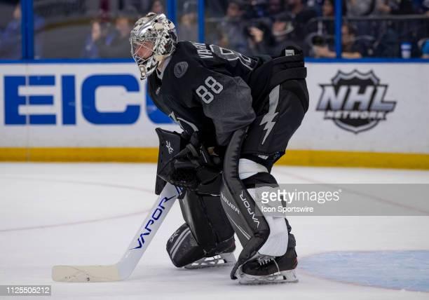 Tampa Bay Lightning goaltender Andrei Vasilevskiy skates during the NHL Hockey match between the Lightning and Canadiens on February 16 2019 at...